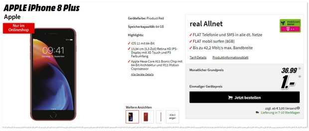 Telekom Real Allnet (md) + iPhone 8 Plus (Product Red) mit 1 € Zuzahlung