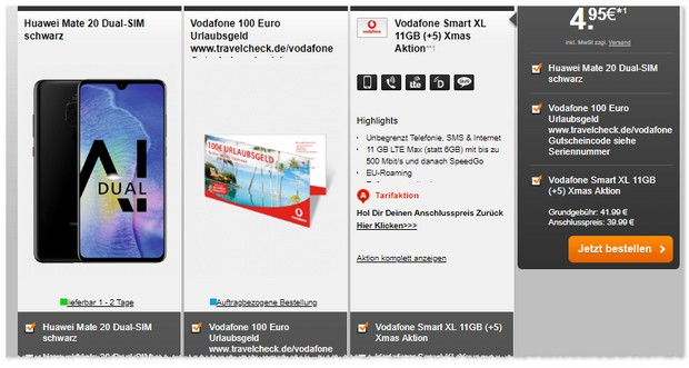 Vodafone Smart XL (11GB LTE) + Huawei Mate 20 + Reisegutschein