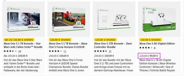 Xbox One S Angebote am Black Weekend 2019 für 99 €
