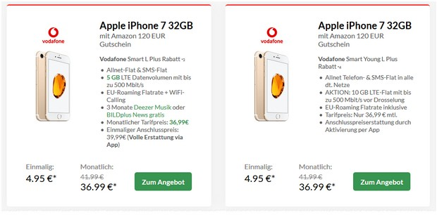 Apple iPhone 7 + Vodafone Smart L Plus + Amazon-Gutschein für 36,99 € mtl. + 4,95 € Zuzahlung