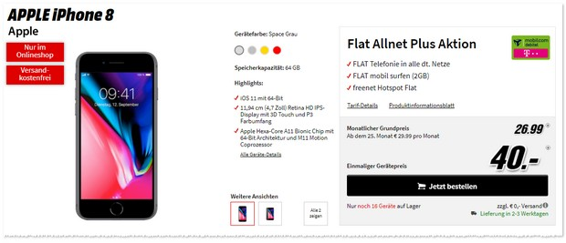 Apple iPhone 8 mit Telekom Flat Allnet Plus (md)