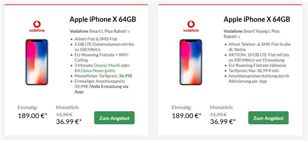 Apple iPhone X Deal mit Vodafone Smart L Plus für 36,99 € mtl.