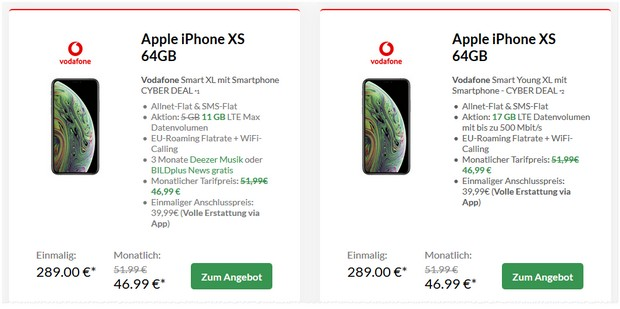 Apple iPhone XS + Vodafone Smart XL 11 GB für 46,99 € mtl.
