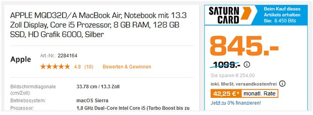 Apple MacBook Air als Saturn Angebot für 845 €