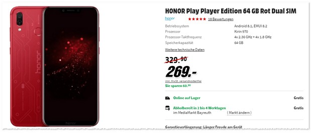 Honor Play (Player Edition) in Rot im Angebot