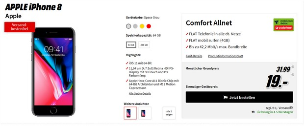 iPhone 8 + Vodafone Comfort Allnet (md) für 31,99 €