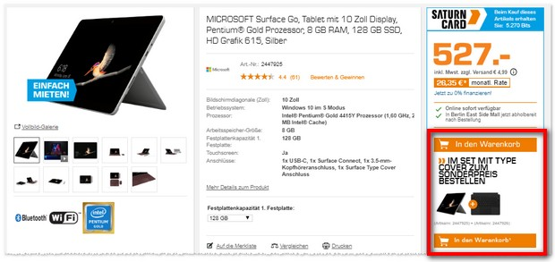 Surface Go Tablet mit Type Cover als Saturn Bundle Angebot