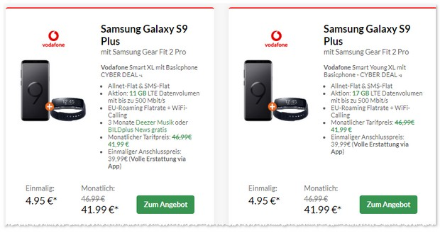 Vodafone Smart XL + Samsung Galaxy S9 Plus + Gear Fit 2 Pro