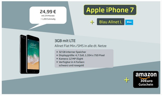 Apple iPhone 7 + Blau Allnet L + 30 € Amazon-Gutschein