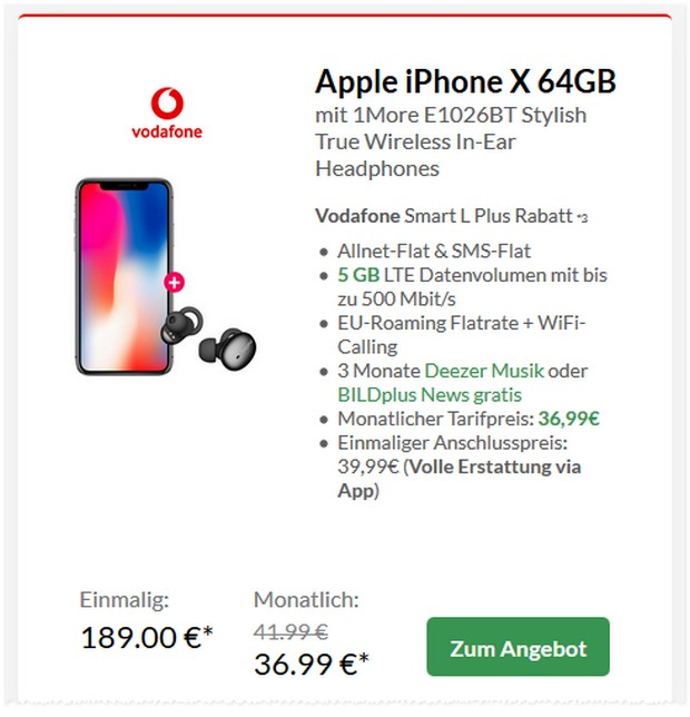 Apple iPhone X + Vodafone Smart L Plus für 36,99 € im Monat