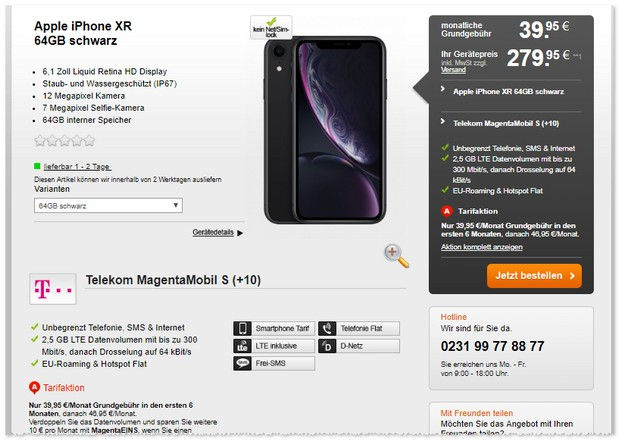 Apple iPhone Xr mit Magenta Mobil S im Bundle