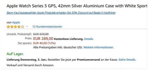 Apple Watch Series 3 in Weiß für 289 € bei Amazon