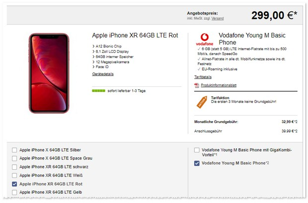 Vodafone Young M als iPhone Xr Tarif