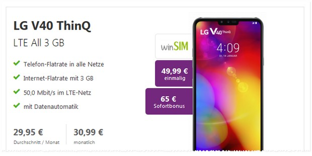 LG V40 ThinQ + winSIM LTE All 3 GB bei Verivox mit Sofortbonus!