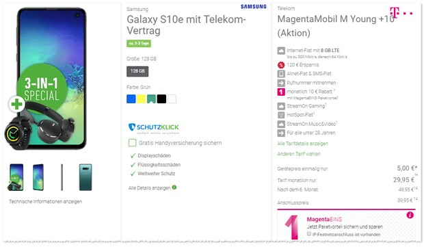 Samsung Galaxy S10e + Magenta Mobil M Young