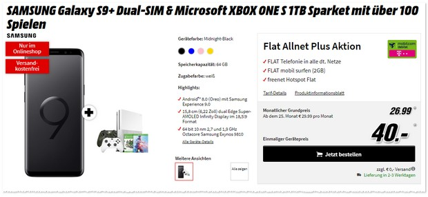 Telekom Flat Allnet Plus (md) + Samsung Galaxy S9 Plus + Xbox One S im Sparket