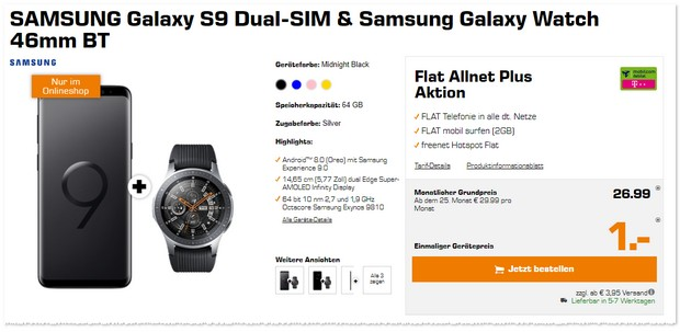 Telekom Flat Allnet Plus (md, 2GB) + Samsung Galaxy S9 + Galaxy Watch