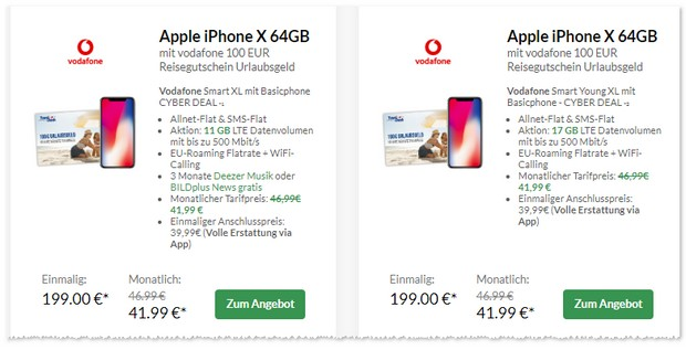 Vodafone Smart XL + iPhone X + Reisegutschein