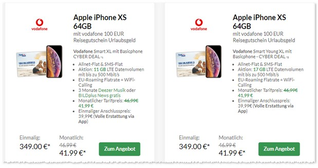 Vodafone Smart XL + iPhone Xs + Reisegutschein
