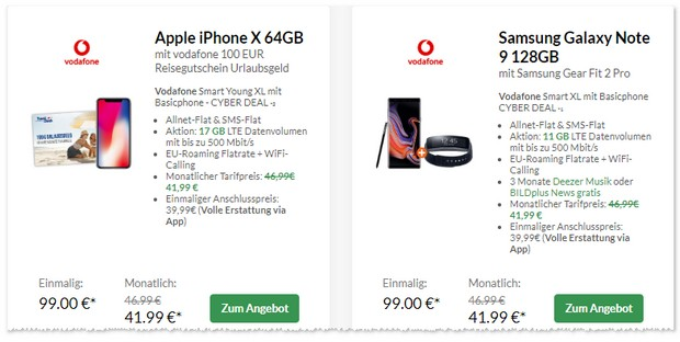 Vodafone Smart XL Young mit iPhone X unter 100 Euro