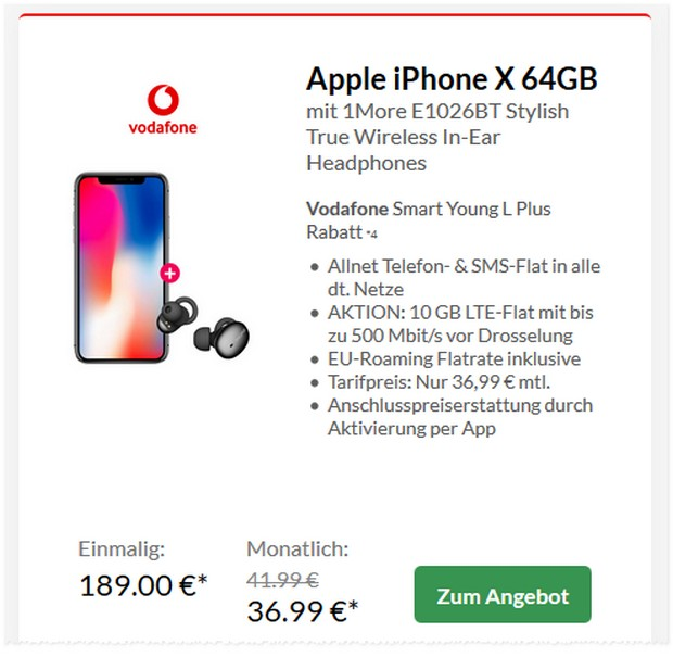 Apple iPhone X + Vodafone Smart L Plus Young für 36,99 € mtl.