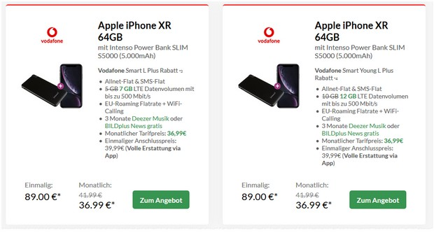 Apple iPhone XR + Vodafone Smart L Plus (7 GB) für 36,99 € mtl.