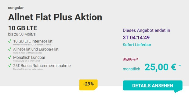 congstar Allnet-Flat Plus Flex Aktion für 25 €