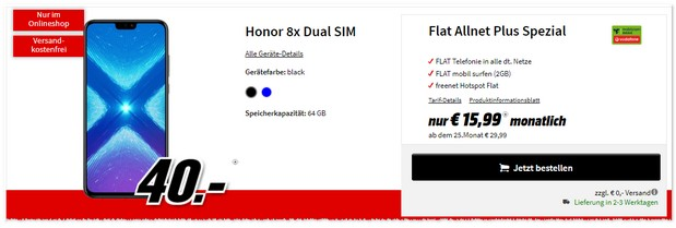 Honor 8x mit Vodafone Flat Allnet Plus