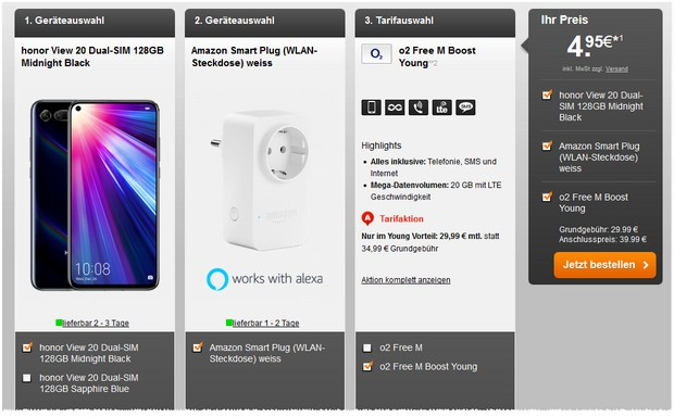 o2 Free M Boost Young + Honor View 20 für 29,99 € im Monat + 4,95 € Zuzahlung