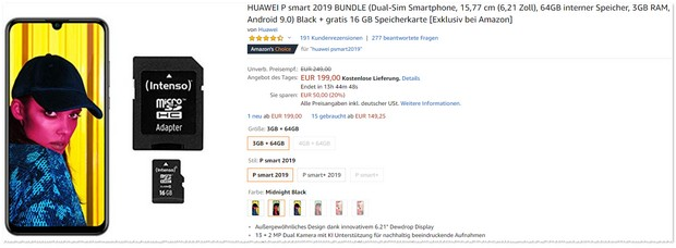 Huawei P Smart 2019 im Amazon-Deal mit Speicherkarte