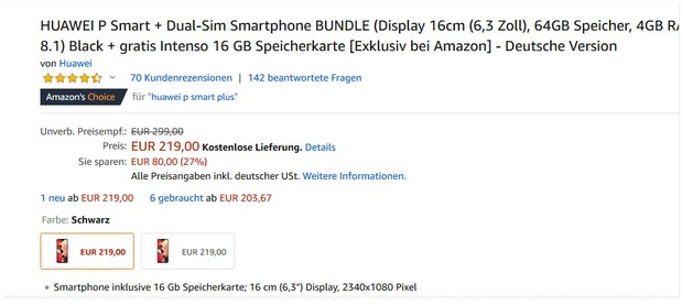Huawei P Smart Plus im Bundle für 219 € bei Amazon