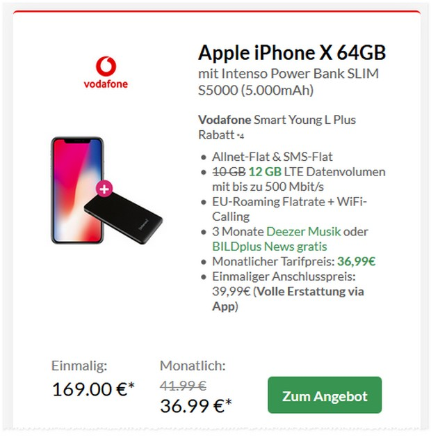 iPhone X + Vodafone Smart Young L Plus (12 GB) für 36,99 € mtl. + 169 € Zuzahlung
