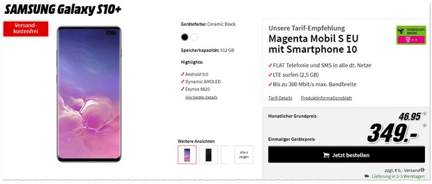 Samsung Galaxy S10 Plus + Magenta Mobil S (md) Angebot