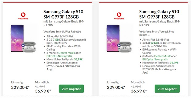 Samsung Galaxy S10 + Vodafone Smart L Plus 7 GB für 36,99 €