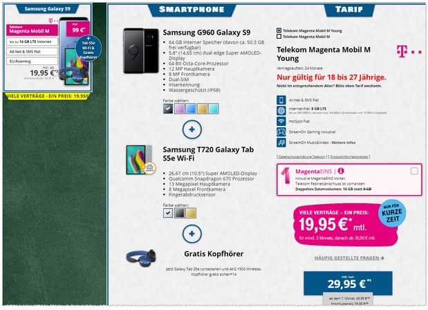 Samsung Galaxy S9 + Magenta Mobil M Young + Tablet-Zugabe