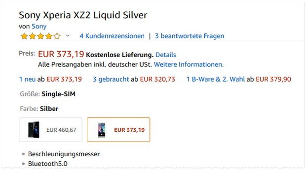 Sony Xperia XZ2 in Liquid Silver bei Amazon für 373,19 €