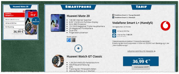 Vodafone Smart L Plus + Huawei Mate 20 + Smartwatch