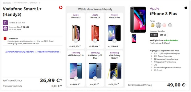 Apple iPhone 8 Plus + Vodafone Smart L Plus für 36,99 € im Monat