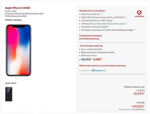 Apple iPhone X + Vodafone Smart L Plus (7 GB) für 36,99 € mtl.
