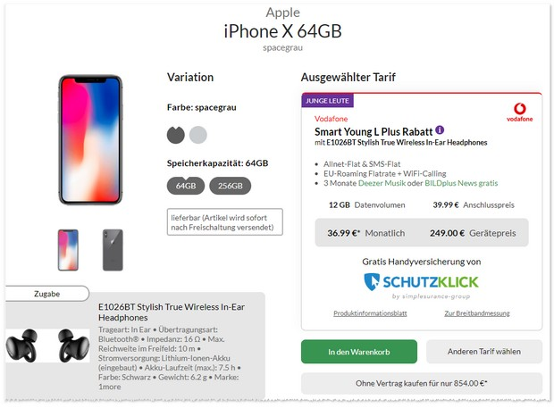 iPhone X + Vodafone Smart L Plus Young mit Kopfhörer Zugabe