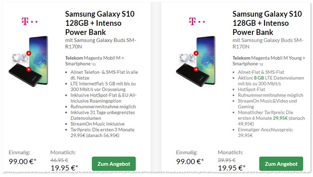 Samsung Galaxy S10 + Magenta Mobil M Young Powerbank Angebot