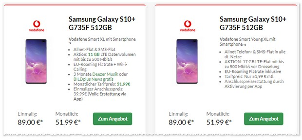 Vodafone Smart XL Young + Samsung Galaxy S10 Plus zum Top-Preis