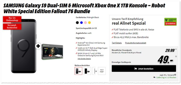 Xbox One X Fallout Bundle + Samsung Galaxy S9 Vertrag