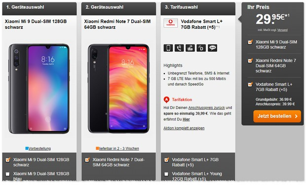 Xiaomi Mi 9 + Vodafone Smart L Plus Zugaben-Deal