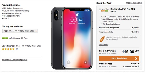 Apple iPhone X + Klarmobil Allnet-Flat (4 GB LTE) für 39,99 € mtl.