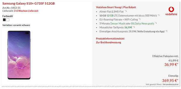 Samsung Galaxy S10 Plus + Vodafone Smart L Plus Young