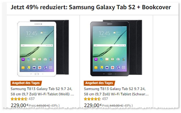 Tab S2 mit Bookcover bei Amazon