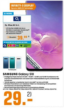 Galaxy S10 + o2 Blue All-in L für 29 € Zuzahlung