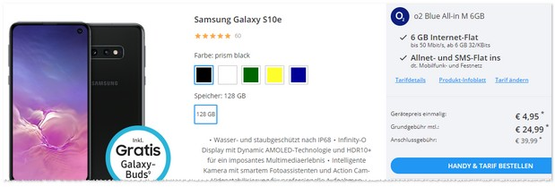 Samsung Galaxy S10e mit o2 Blue All-in M