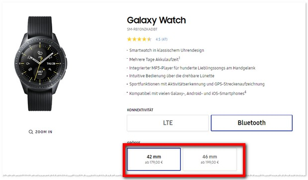 Samsung Galaxy Watch zur Black Week